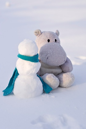 Tiny Hippo and Snow Man with Blue Scarf