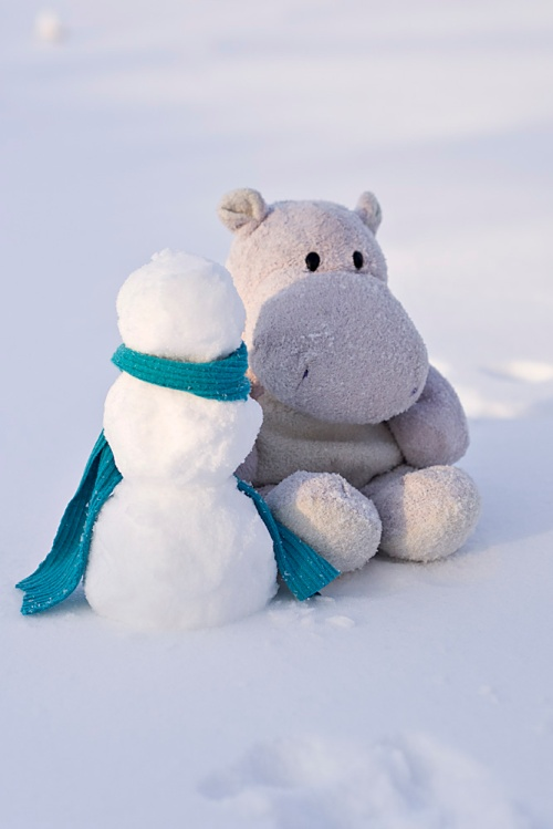 Tiny Hippo and Snowman with Blue Scarf