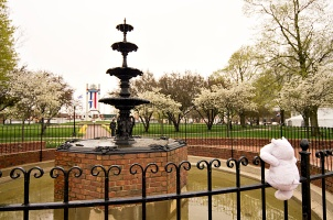 This fountain adds charm to the center of the city