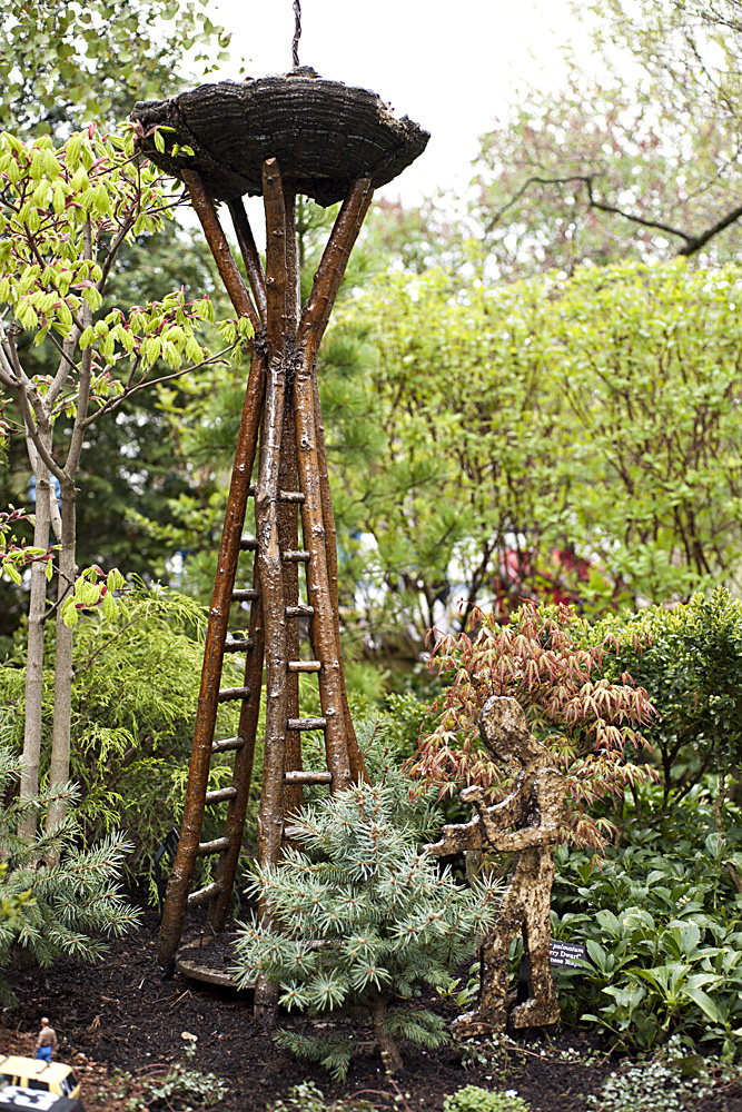 The Seattle Space Needle looks better than ever made from branches and a large mushroom