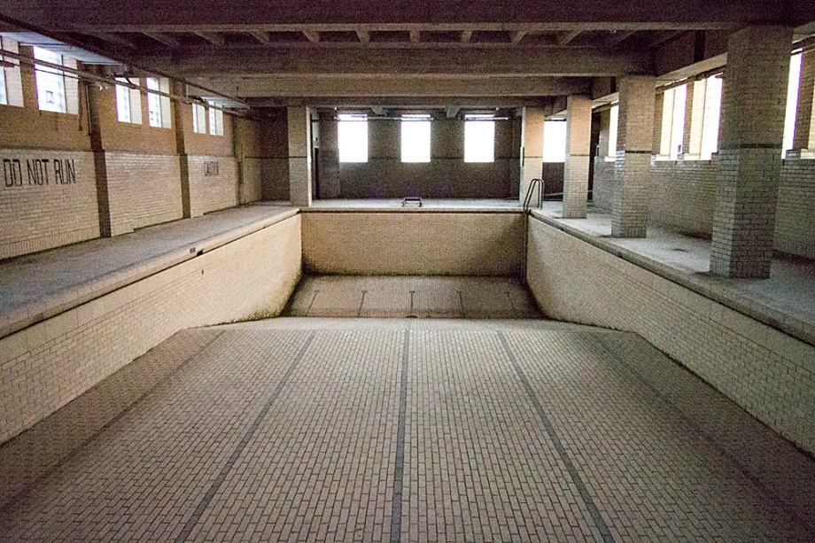 The old pool in the basement of the gym