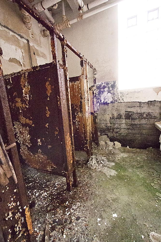 Bathroom Stalls in Abandoned Gym