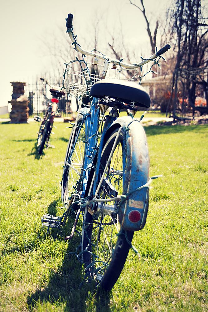 Vintage Bike with Christmas Lights