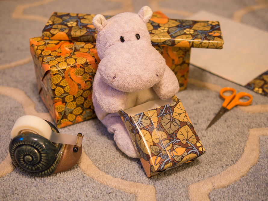 A Tiny Hippo Wrapping Gifts