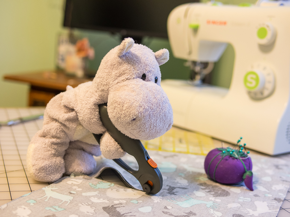 Tiny Hippo Cuts Fabric