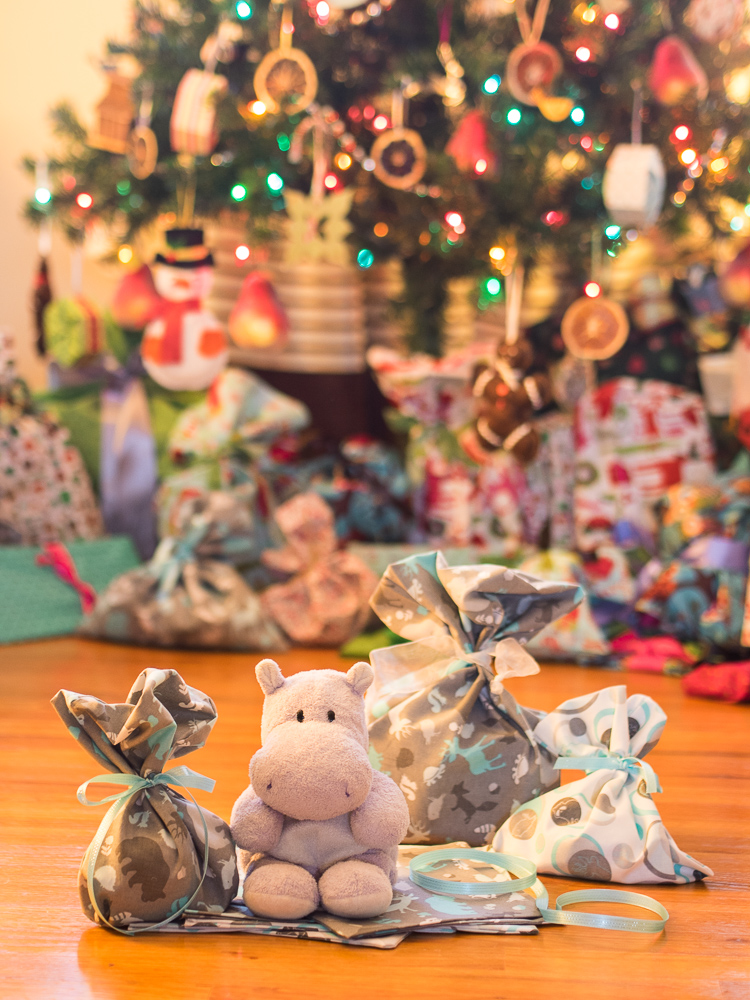 Tiny Hippo with Christmas Gift Bags