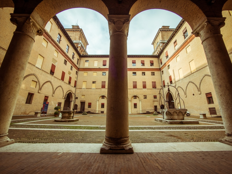Courtyard of Castle Estense, Ferrara, Italy
