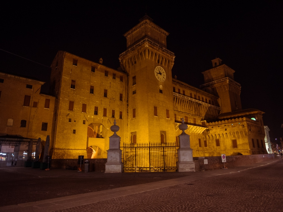 Castello Estense at night, Ferrara, Italy