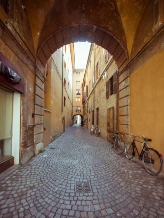 Lane of Ferrara Lined with Bicycles