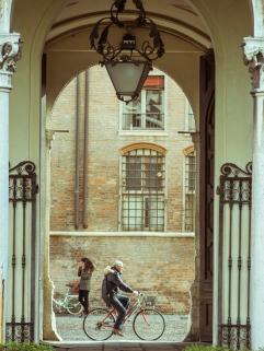 Archway with Biker, Ferrara, Italy