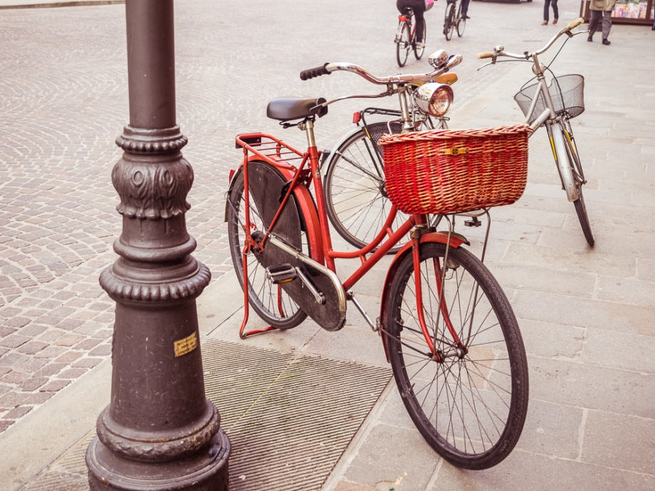 Red Bicycle with Basket, Ferrara, Italy