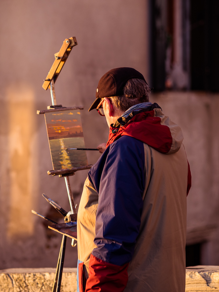 Man Painting Sunrise in Venice