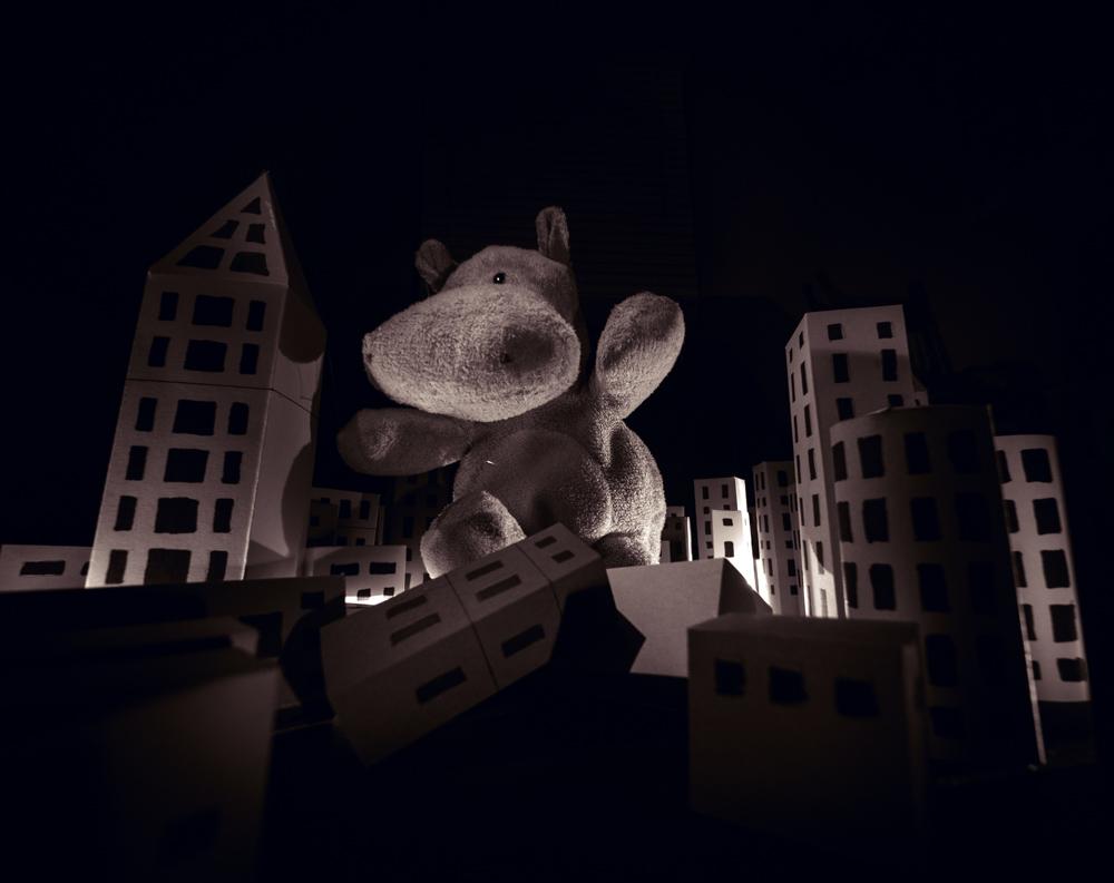 Tiny Hippo Topples Building