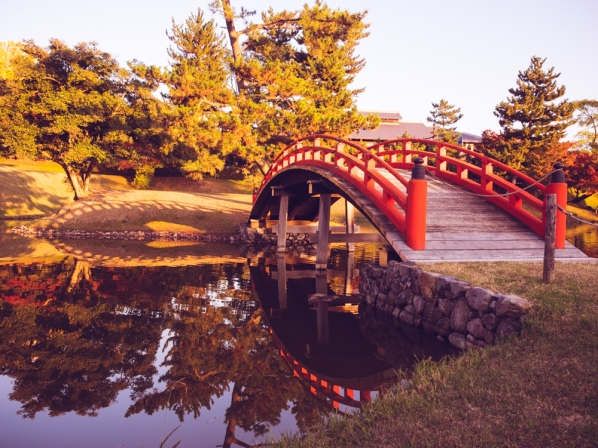 Bridge at Old Daijoin Temple Garden, Nara