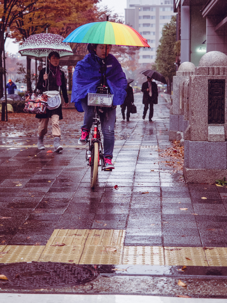 Woman on Bike with Umbrella